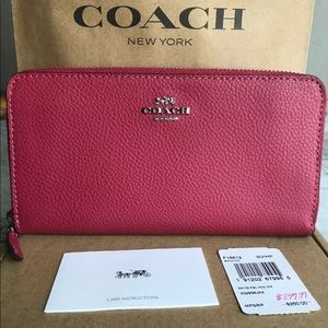 Coach Hot Pink Pebble Leather Accordion Zip Around